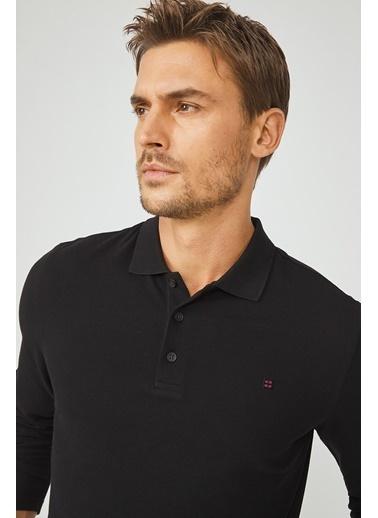 Avva Erkek  Polo Yaka Düz Sweatshirt E001003.03 Siyah
